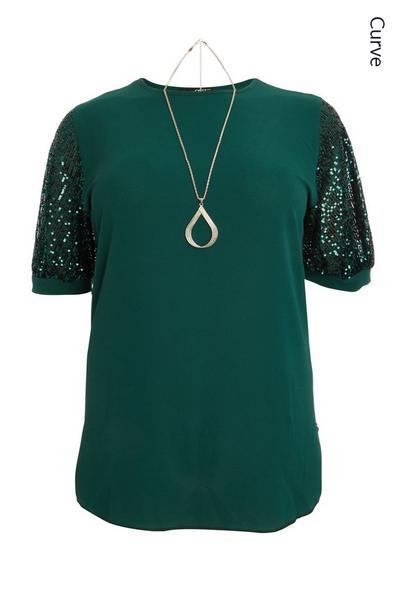 Curve Bottle Green Sequin Sleeve Top